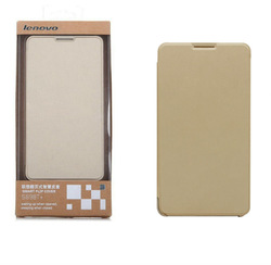 original high quality flip leather cell phone cover for lenovo s8 with gold color smart cover
