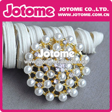 Top Quality Big 48mm Round Brooch with White Pearl Beads Fashion New Style Pin