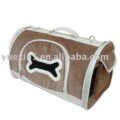 corduroy and pu made Dog Carrier bone shape window-000128DC