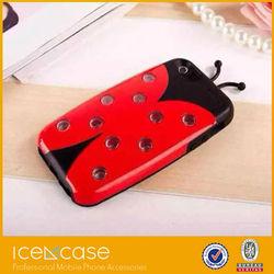 Wholesale flash LED call lighting ladybug beetles 3D Ladybird Hybrid TPU&PC Hard Cover case for iphone 4 4s 5 5s