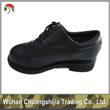 black colour leather officer military shoes