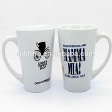 cheap V shape artwork printed ceramic white coffee mugs/design your own mugs
