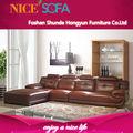 novos design moderno mobiliário de sala de couro baratos sofá de canto qzn007