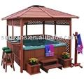 Mirador de madera, al aire libre spa mirador, cenador de madera
