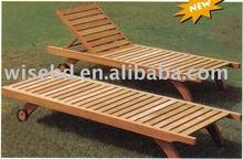 (W-D-98A) wooden outdoor sun lounger