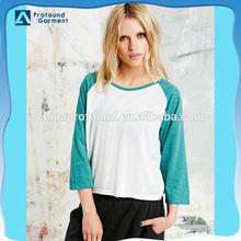 raglan 3/4 sleeve t shirt 2 colors plain tee for women
