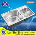 ls8044a medidor de água inserir polonês açoinoxidável laboratório pias lavabo duplo tigela