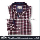 Burgundy Navy Button Down collar formal checks shirts designs