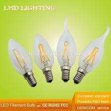 CE 230V Clear All Glass Candle 3.5W C35 Filament Bulb E14 LED Candle Bulbs 3W