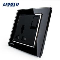 Livolo 1Way Push Button Switch &3Pins Multifunction 10A Socket , Black Crystal Glass Panel,VL-W2Z1C-11