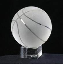 crystal basketball with clear base birthday gift MH-Q0089