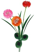 Onion Blossom Solar Lawn LED Lights with Pink Orange and Red Flowers, Set of 3