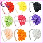 Grosgrain Ribbon Flower Bow Hair Band With Cover Plastic Teeth (CNHB-141171)