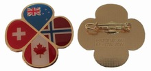 country cross flags flower Lapel Pin