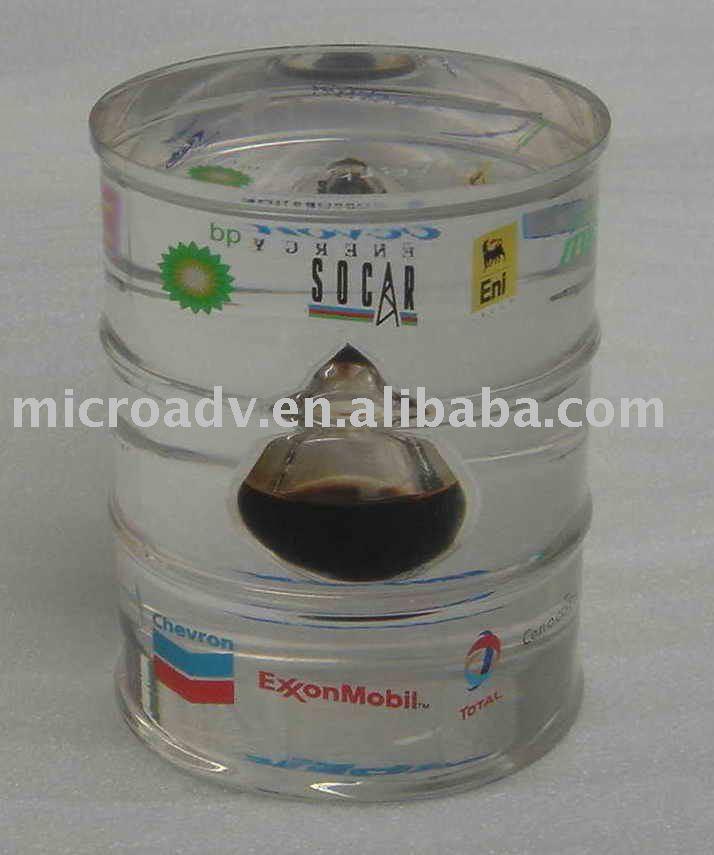 Lucite oil barrel/ acrylic