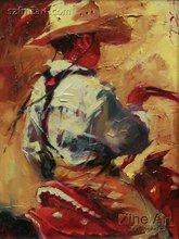 Wholesale room decor art canvas cowboy oil painting