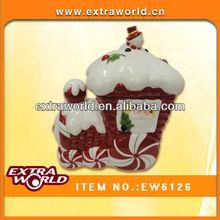 christmas ceramic house candy jar