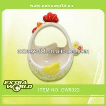 fat and old hen ceramic easter basket for eggs holder