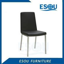 Simple Elegant Chrome Metal Legs and Black Leather Dinner Chairs
