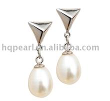 pear shaped pearl earrings, 925 sterling silver earrings