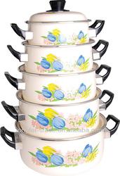 5pcs porcelain enamel cookware sets 16-24cm enamel cookware
