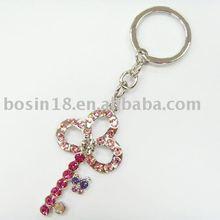 Flower Key Keychain Red CZ Diamond Alloy Keyring