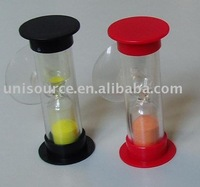 Plastic sand timer hourglass with cap and suction