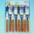 Jk12017fa bife faca& conjunto garfo, com s/ s punho de madeira