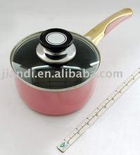 Lovely pinky non-stick aluminum milk pan