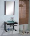 Armário de banheiro de vidro com móveis de madeira econômica
