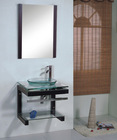 Economic Glass Bathroom Cabinet with wood furniture