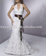2012 V-neckBlack Belt Floor-Length Organza bridal dress AD3338