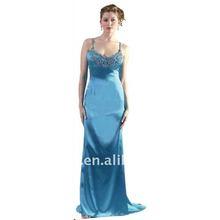 2012 Spaghetti Strape A line silk satin Floor length sequin Beaded Long Evening Dresses ED2040