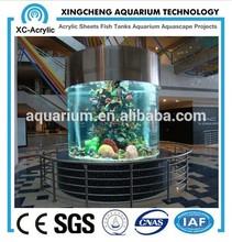 Cast acrylic cylinder round fish aquarium tank