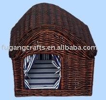 handmade wicker dog basket house