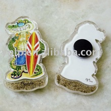 2012 cartoon design with sand acrylic fridge magnet