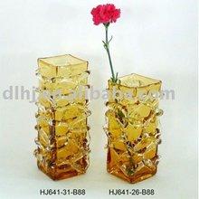 Golden Amber Art Square Glass Vases