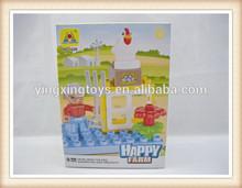 hot sell good quality cheap 9pcs happy farm plastic block toy