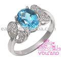 2014 baratos al por mayor de chapado en oro de joyería de moda, de plata 925 con anillo de topacio natural para las mujeres