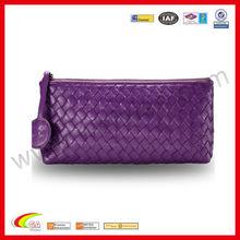 Hot Selling Cosmetic Bag Darkorchid Handbag Sheepskin Makeup Cover Weave Bag For Promotion Gift 2013