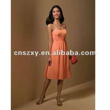 2012 Fashion Styleish Spaghetti Strape Chiffon A line Knee length Bridesmaid DressBD3619