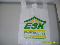 Cheap price Plastic white blocked t-shirt bag with printed