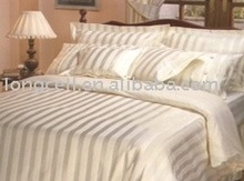 Sateen stripe high-end thread count cotton fabric sheet set