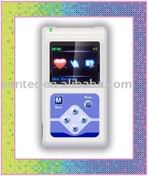Contec 24 horas 12 canales Holter ECG grabadora con Display