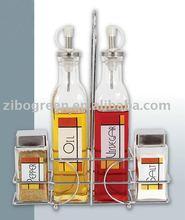 TW281MK9 4pcs glass condiment jar setwith printing with rack