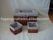 wicker storage basket with liner