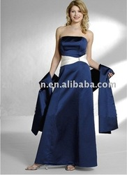 Simple Style MD-0011 Navyblue Satin With Ivory Belt Mother Dress