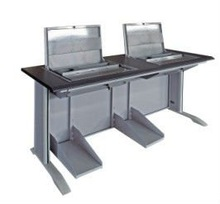 double seats computer desk with monitor hiding