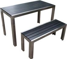 aluminum frame plastic wood top outdoor table set