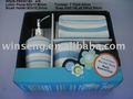 Nuevo elemento de color azul con rayas patrón decorativo dolomita conjunto de cuarto de baño para la decoración del hogar 4pcsws28- fb930180